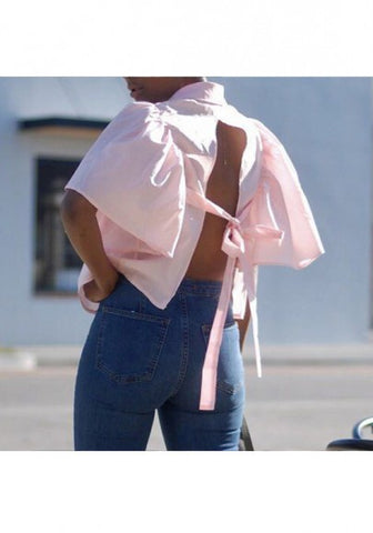 2018 Pink Tie Back Ruffle Turndown Collar Elbow Sleeve Blouse