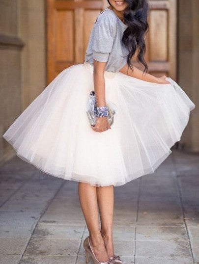 New White Puffy Tulle Skirt Tutu Skirt