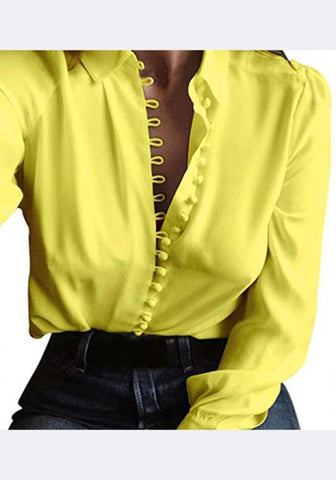 2018 Yellow Single Breasted Turndown Collar Long Sleeve Casual Blouse
