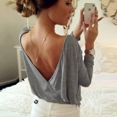 New Candy Color Open Backless Long Sleeves T-shirt