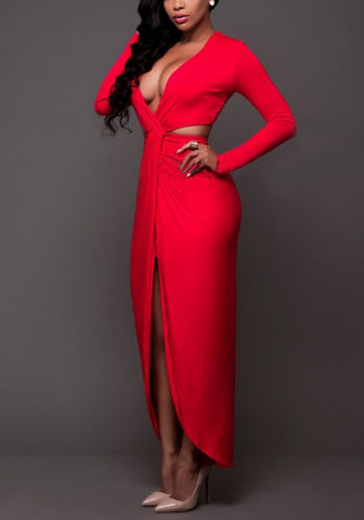 Red Cut Out High Slit Deep V-neck Long Sleeve Homecoming Party Maxi Dress