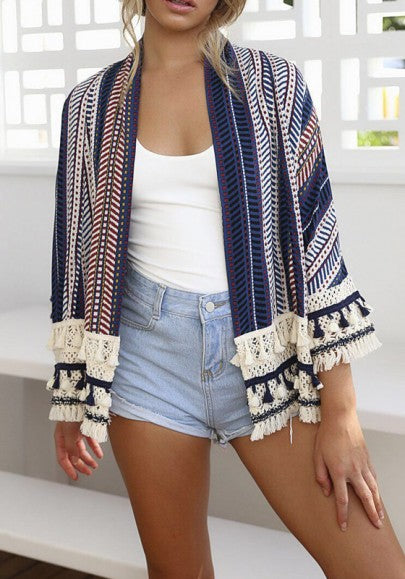 New Women Blue Striped Print Tassel Long Sleeve Casual Cotton Coat