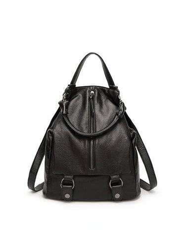 2017 New Women Black Casual Unique Zip Top Backpack