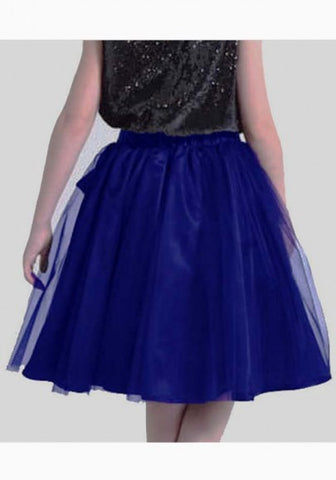 2018 Blue Grenadine Draped Sashes Fluffy Puffy Tulle Homecoming Party Sweet Skirt