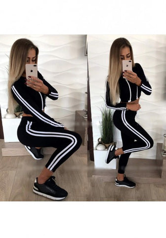 2018 Black Striped Crop Drawstring Waist Fashion Nine's Jumpsuit