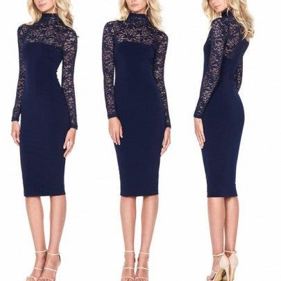 New Women Black Patchwork Lace Draped Elegant Bodycon Bridesmaid Party Long Sleeve Midi Dress