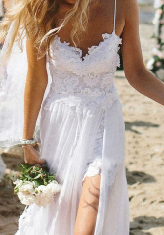 New Women White Side Slits Backless Condole Belt Lace Spaghetti Strap Beach Wedding Maxi Dress