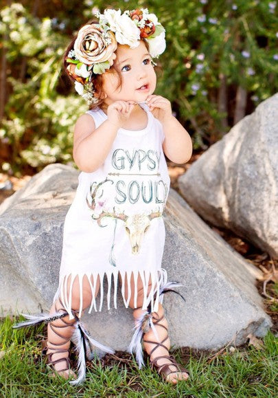 2018 White Cartoon Print Tassel Round Neck Cute Children's Mini Dress