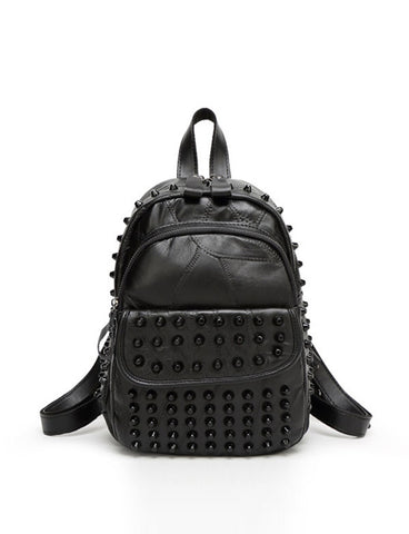 2017 New Women Black Out Going Studs Detail Backpack