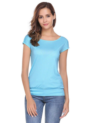 2017 New Women O-Neck Short Sleeve Dot Slim T-Shirts