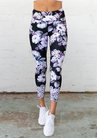 2018 Black Flowers Print High Waisted Sports Yoga Workout Nine's Legging