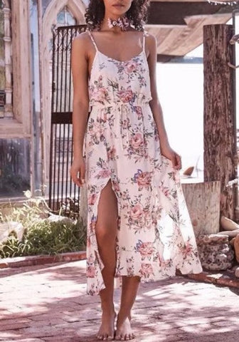 2018 Beige Flowers Ruffle Drawstring Side Slit Spaghetti Strap Backless Bohemian Beach Maxi Dress