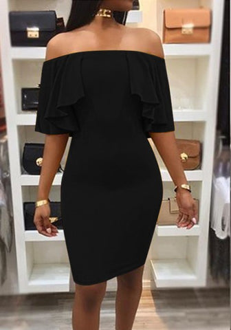 New Women Black Plain Ruffle Boat Neck Fashion Midi Dress
