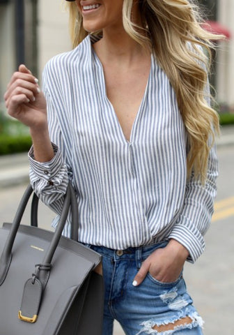 2018 Blue Striped Buttons V-neck Office Worker/Daily Going out Blouse
