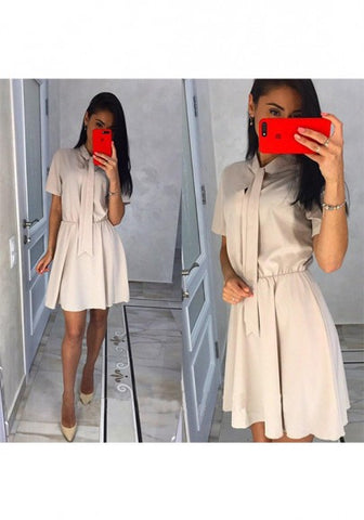 2018 Beige Belt Round Neck Short Sleeve Fashion Mini Dress