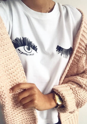 2018 White Figure Eye Print Round Neck Short Sleeve Casual T-Shirt