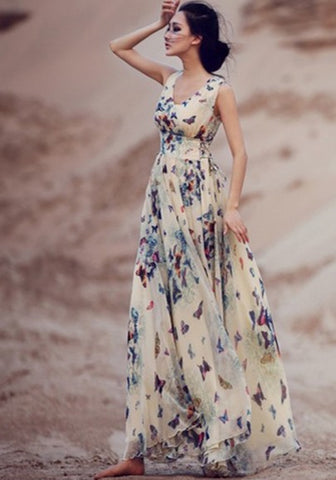 2017 New Women Beige Butterfly Print Sleeveless Bohemian Chiffon Maxi Dress