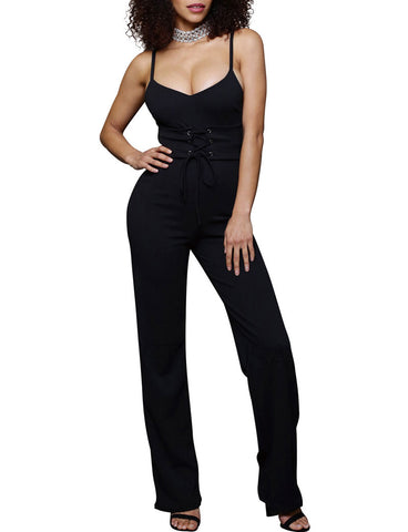 2017 New Women Voguish Solid Color Lace-Up Spaghetti Jumpsuit