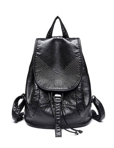 2017 New Women Black Trendy Casual Faux Leather Studs Detail Flap Backpack