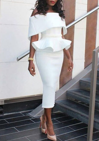 New Women White Plain Ruffle Bandeau Peplum Off Shoulder Elegant Bodycon Midi Dress