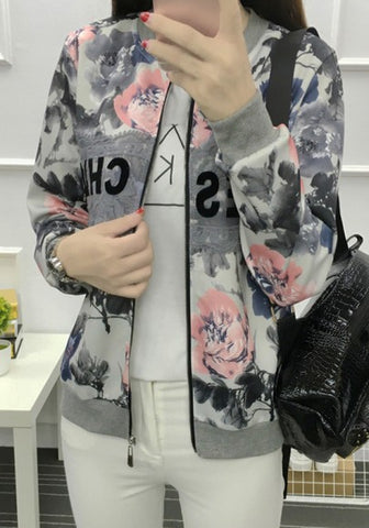 New Women White Floral Zipper Round Neck Fashion Coat