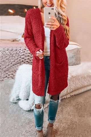 New Loverchic Solid Color Long Sleeve Pocket Cardigan