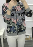 New Women Black Floral Zipper Round Neck Fashion Coat