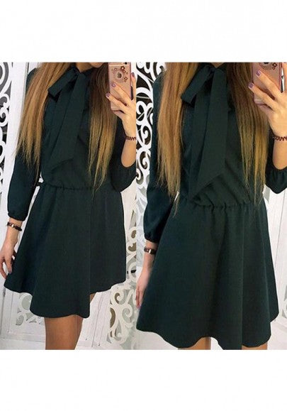 2018 Army Green Belt Bow Round Neck Long Sleeve Fashion Mini Dress