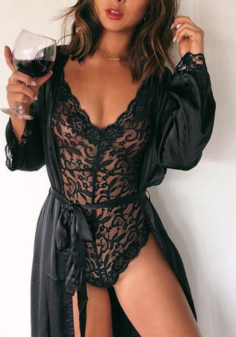 2018 Black Lace Cut Out Condole Belt Backless Elastic Waist Fashion Short Jumpsuit