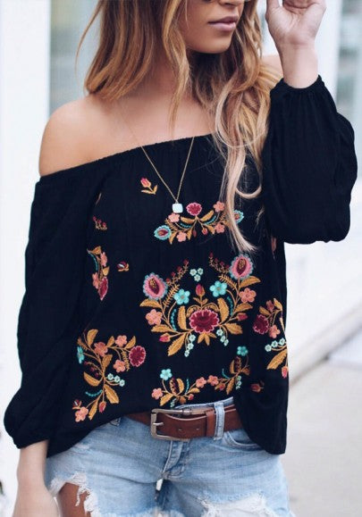 Black Gypsy Floral Embroidery Off Shoulder Long Sleeve Mexico Fashion Blouse
