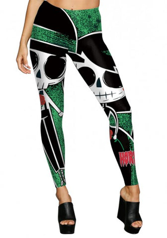 Multicolor Skull Print Elastic Waist High Waisted Halloween Fashion Long Legging