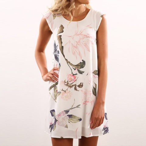 2017 Summer Boho Womens Casual Chiffon Sleeveless Mini Dress Retro Floral Printed Zip Shift Dress Sundress Vestidos