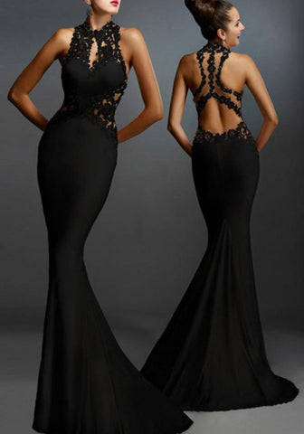 New Women Black Lace Patchwork Elegant Backless Mermaid Evening Party Maxi Dress