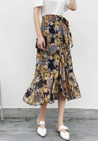 2018 Yellow Floral Irregular Ruffle Drawstring Waist Sweet Skirt