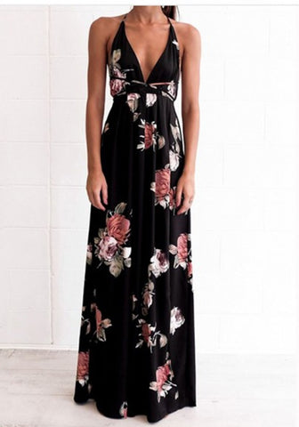2018 Black Floral Condole Belt Backless V-neck Fashion Maxi Dress