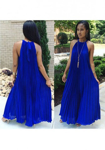 2017 New Women Royal Blue Pleated Tie Back Sleeveless Halter Neck A-line Bohemian Maxi Dress