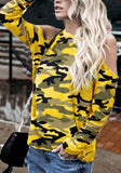 2018 Yellow Camo Print Cut Out Sleeve Casual T-Shirt