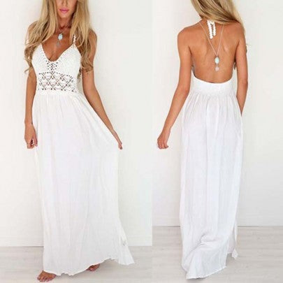 2017 New Women White Crochet Condole Belt Hollow-out Backless V-neck Floor Length Lace Maxi Dress