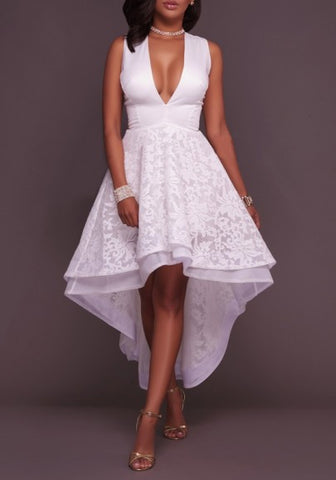 New Women White Patchwork Lace Zipper Swallowtail High-low Wedding Gowns Tutu Maxi Dress