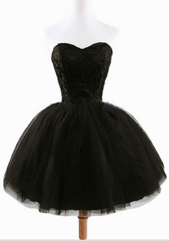 2017 New Women's Black Plain Grenadine Strapless Lace-Up Ball Gown Sweet Tutu Mini Dress