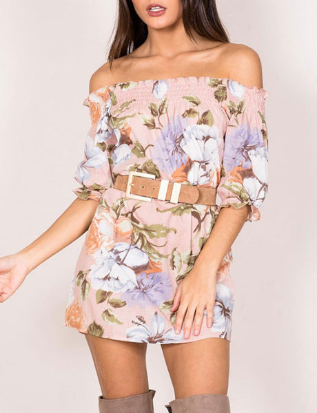 2017 New Women Floral Print Bohemian Ruffle Off-The-Shoulder Dress