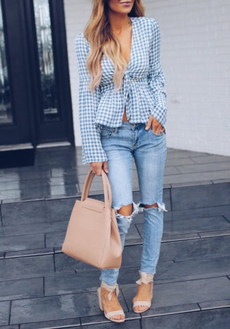 2018 Light Blue Plaid Sashes Flare Sleeve Deep V-neck Sweet Going out Blouse