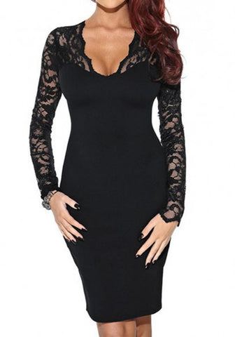 New Women Black Patchwork Lace Plunging Neckline Slim Fashion Mini Dress