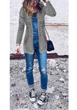 Grey Pockets Drawstring Hooded Long Sleeve Casual Coat