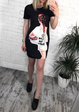 Black Cartoon Print Round Neck Fashion Mini Dress