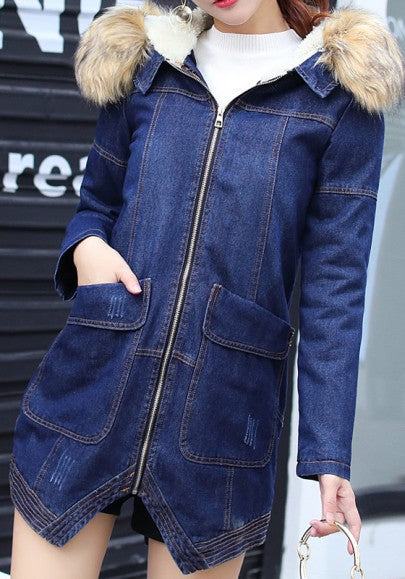Blue Pockets Hooded Plunging Neckline Zipper Long Sleeve Cardigan Coat