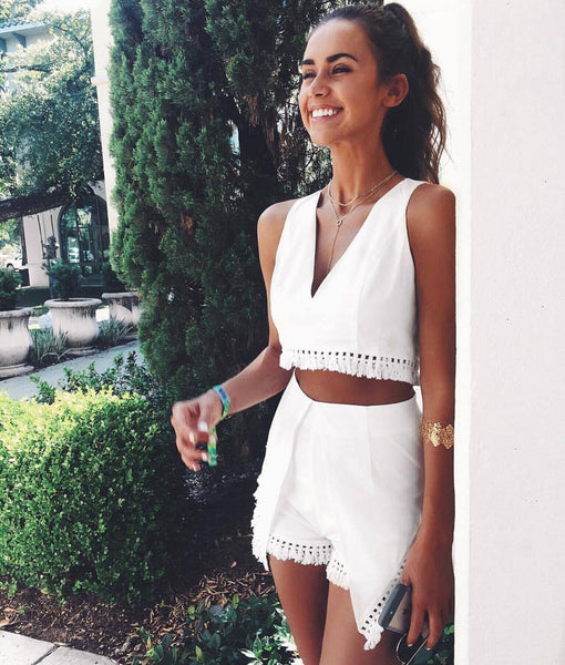 Tassel White Overlay Two-piece Romper
