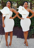 New Fashion White Irregular Ruffle One-shoulder Bodycon Prom Evening Party Midi Dress