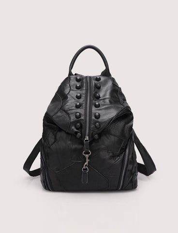 2017 New Women Black Street Zipper Top Patching Backpack