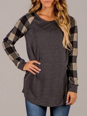 New Long Sleeve Crew Neck Cotton-blend Checkered/Plaid T-Shirt